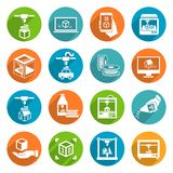Printer 3d Icons Stock Photo