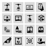 Printer 3d icons set. Printer 3d black icons set of manufacturing technology and production process isolated vector illustration Royalty Free Stock Photography