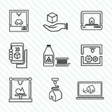 Printer 3d icons set. Printer 3d outline icons set of manufacturing production process isolated vector illustration Stock Images