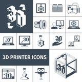 Printer 3d Icons Royalty Free Stock Photos