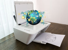 Printer with earth of social network Royalty Free Stock Photo