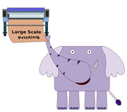 Printer for an elephant. An elephant carrying a large scale printer stock illustration