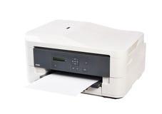 Printer en document op witte achtergrond wordt geïsoleerd die stock fotografie