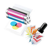Printer and eyedropper with samples. On white Stock Image