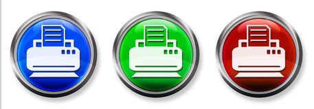 Printer & Fax 3-D RGB Button Royalty Free Stock Photo