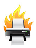 Printer on fire. Illustration design over a white background Stock Image