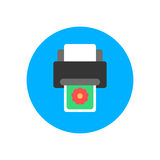 Printer flat icon. Round colorful button, circular vector sign, logo illustration Royalty Free Stock Photo