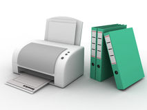 Printer with folders Royalty Free Stock Image