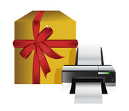 Printer gift box Royalty Free Stock Photos