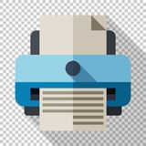Printer icon in flat style on transparent background. Printer icon in flat style with long shadow on transparent background vector illustration