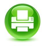 Printer icon glassy green round button Royalty Free Stock Photos
