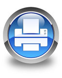 Printer icon glossy blue round button Stock Photos