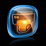 Printer icon neon. Royalty Free Stock Images