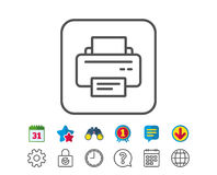 Printer icon. Printout device sign. Printer icon. Printout Electronic Device sign. Office equipment symbol. Calendar, Globe and Chat line signs. Binoculars Royalty Free Stock Photography