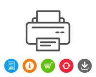 Printer icon. Printout device sign. Printer icon. Printout Electronic Device sign. Office equipment symbol. Report, Information and Refresh line signs. Shopping Royalty Free Stock Photos