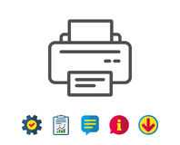 Printer icon. Printout device sign. Printer icon. Printout Electronic Device sign. Office equipment symbol. Report, Service and Information line signs. Download Royalty Free Stock Photos