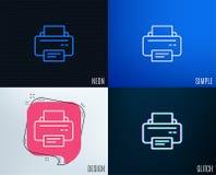 Printer icon. Printout device sign. Glitch, Neon effect. Printer icon. Printout Electronic Device sign. Office equipment symbol. Trendy flat geometric designs Stock Photography