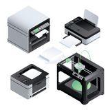 Printer icon set, isometric style vector illustration
