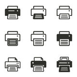 Printer icon set. Printer vector icons set. Black illustration isolated on white background for graphic and web design royalty free illustration