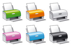 Printer icons. Set of vector icons of printers in multiple colors Royalty Free Stock Images