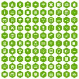 100 printer icons hexagon green. 100 printer icons set in green hexagon isolated vector illustration Stock Image