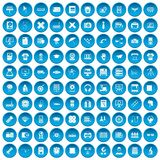 100 printer icons set blue Stock Images