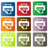 Printer icons. A set of colorful icons with printers and printing paper Stock Photo
