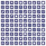 100 printer icons set grunge sapphire. 100 printer icons set in grunge style sapphire color isolated on white background vector illustration Royalty Free Stock Image