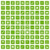 100 printer icons set grunge green Stock Images