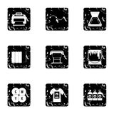Printer icons set, grunge style. Printer icons set. Grunge illustration of 9 printer vector icons for web Royalty Free Stock Image