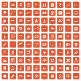 100 printer icons set grunge orange. 100 printer icons set in grunge style orange color isolated on white background vector illustration Royalty Free Stock Image