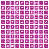 100 printer icons set grunge pink. 100 printer icons set in grunge style pink color isolated on white background vector illustration Royalty Free Stock Photos