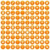 100 printer icons set orange. 100 printer icons set in orange circle isolated on white vector illustration Stock Photos