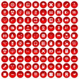 100 printer icons set red Royalty Free Stock Photo