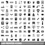 100 printer icons set, simple style. 100 printer icons set in simple style for any design vector illustration Royalty Free Stock Image