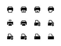 Printer icons on white background. Vector illustration Stock Photos