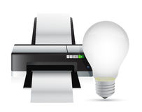 Printer and idea light bulb Stock Photos