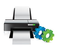 Printer with industrial gears Stock Photos
