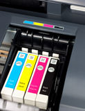 Printer ink. Closeup of printer ink cartridges for a color printer stock photo