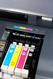 Printer ink. Closeup  of  printer ink cartridges for a color printer Royalty Free Stock Photography