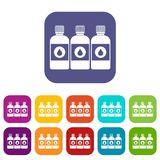 Printer ink bottles icons set. Vector illustration in flat style In colors red, blue, green and other stock illustration