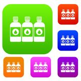 Printer ink bottles set collection. Printer ink bottles set icon in different colors isolated vector illustration. Premium collection Royalty Free Stock Image