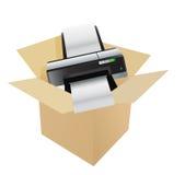 Printer inside a box Royalty Free Stock Photos