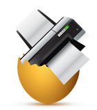 Printer inside a broken egg Stock Images