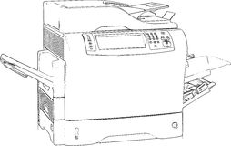 Printer Line Art Drawing Stock Foto