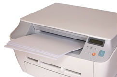 Printer met document Royalty-vrije Stock Afbeeldingen