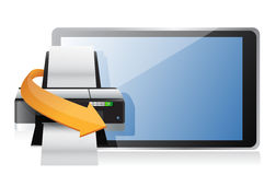 Printer and a modern tablet Stock Image