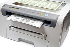 Printer and money Royalty Free Stock Image
