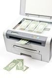 Printer and money Stock Photo