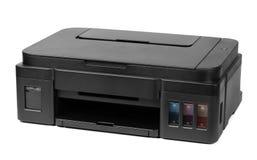 Printer op witte achtergrond wordt geïsoleerd die Stock Foto's